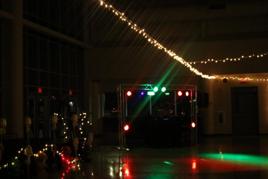 This is a picture of the Dj's booth at the 2020 Winter Ball.