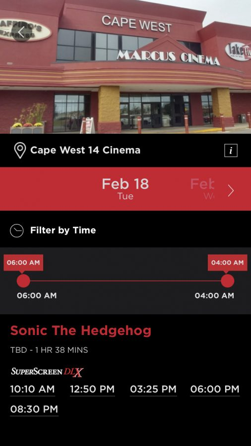 Cape West 14 Cinema's Page in the Marcus App